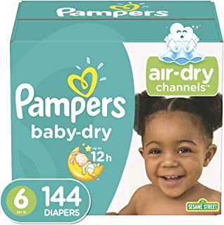 Diapers Size 6, 144 Count – Pampers Baby Dry Disposable Baby Diapers, ONE MONTH SUPPLY