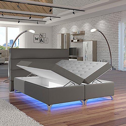 Selsey Torlee – Doppelbett/Boxspringbett in Grau mit Bettkasten Bonellfederkernmatratze und Topper (180x200 cm)