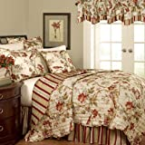 WAVERLY Quilt Bedding Set - Charleston Chirp 3 Piece Quilted Reversible Bedspread Coverlet Sets, Full/Queen, Papaya