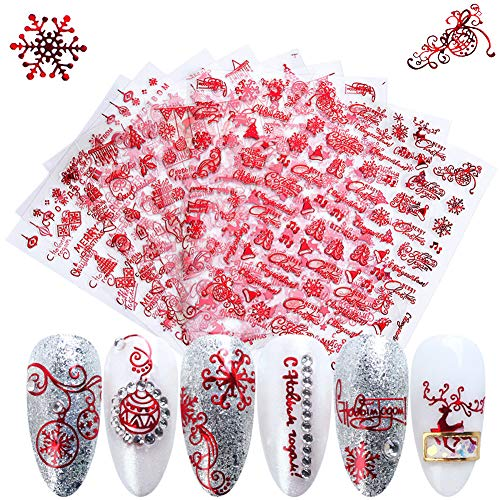 Christmas Nail Art Stickers Winter 3D Xmas Nail Decals Red Holiday Nail Sticker Self-Adhesive Snowflake Santa Claus Deer Bell Tree Snowman Design Nail Stickers for Women Kids Girls (9 Sheets)