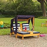 KidKraft 524 Outdoor 2er Lounge Sonnenliege aus Holz mit Getränkehalter – Gartenmöbel für Kinder – dunkelblau & weiß - 5