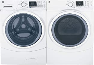 """GE White Front Load Laundry Pair with GFW450SSMWW 27"""""""" Washer and GFD45ESSMWW.."""