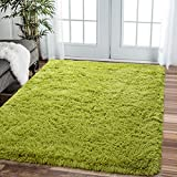 Comeet Soft Living Room Area Rugs for Bedroom Fluffy Rugs for Kids Room, Floor Modern Indoor Shaggy Plush Carpets, Home Decor Fuzzy Comfy Nursery Baby Boys Abstract Accent, Green Shag Rug 4x5.9 Feet