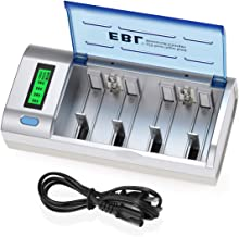 EBL Smart Battery Charger for C D AA AAA 9V Ni-MH Ni-CD Rechargeable Batteries with..