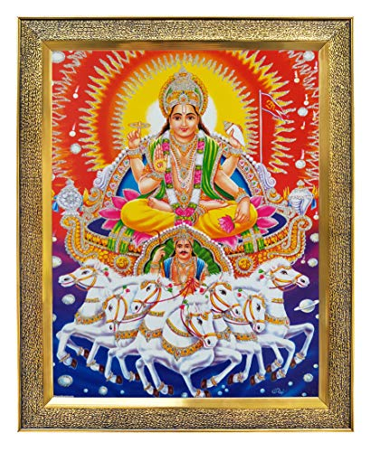 Koshtak Lord Surya dev with 7 Seven Lucky Horses vastu Photo Frame with Unbreakable Glass for Wall Hanging/Gift/Temple/puja Room/Home Decor and Worship