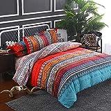 Goodidea Striped Bohemian Paisley Comforter Set, Boho Hippie Geometric Bedding Set Queen 3 Pieces, Soft Breathable Reversible Comforter All Season