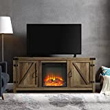 WE Furniture Farmhouse Barn Wood Fireplace Stand for TV's up to 64' Flat Screen Living Room Storage Cabinet Doors and Shelves Entertainment Center, 58 Inch, Reclaimed Barnwood