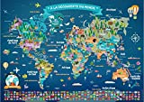 Poster Carte du Monde pour Enfant en Français   Grand Planisphère Mural Illustré   Pays, Drapeaux, Animaux, Monuments...