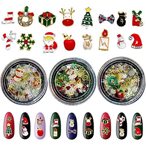 Christmas Nail Art Rhinestones for Nail Art Supplies 3 Boxes 3D Metal Nail Charms Santa Snowflake Elk Christmas Hat False Nails With Designs Glitter Crystal Nail Art Accessories