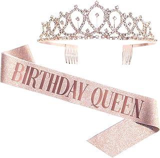 Birthday Queen Sash & Rhinestone Tiara – Rose Gold Birthday Gifts Glitter..