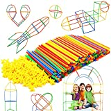 Straw Constructor STEM Building Toys 300 pcs Interlocking Plastic-Educational Toys Engineering Building Blocks -Construction Blocks- STEM Toys for 3-12 Year Old Boys and Girls