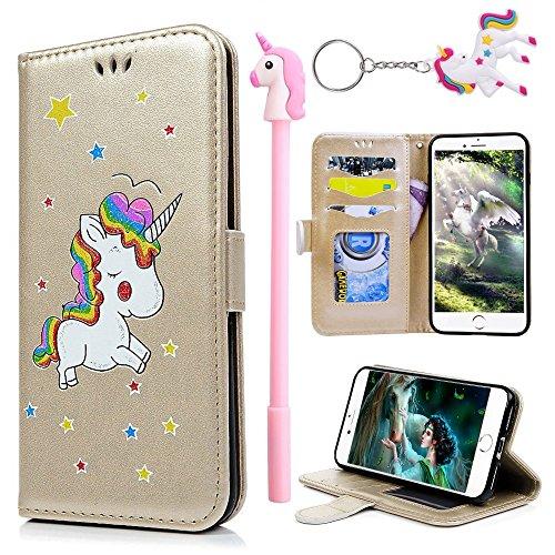 E-Mandala Funda Samsung Galaxy J3 2016 2015 Piel Unicornio Carcasa con Tapa Libro PU Cuero Leather Silicona Bumper Case Completa Protectora Folio Tarjetero - Oro