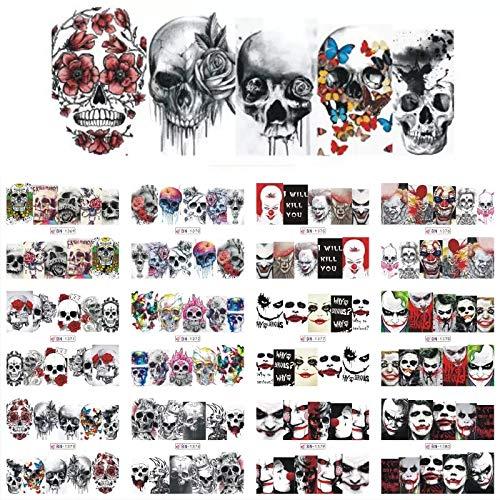 Nail Gang 12 sets penny wise joker sugar skull Nail decals scary mask killer clown nail art stickers full nail wraps psychedelic rainbow nail art kit (1)