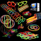 JOYIN Glow Sticks Bulk 200 8' Glowsticks (Total 456 PCs 7 Colors); Bracelets Glow Necklaces Glow-in-The-Dark Light-up July 4th Christmas Halloween Party Supplies Pack, Football Party Supplies