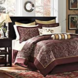 Madison Park Aubrey Cozy Bag Comforter, Faux Silk Jacquard Design All Season Down Alternative Bedding with Complete Sheet Set, Queen(90'x92'), Red