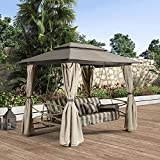 PURPLE LEAF 3 Person Outdoor Patio Porch Swing Gazebo with Mosquito Netting & Gazebo Curtains, Outdoor gazebos for patios, Daybed is Adjustable, Beige