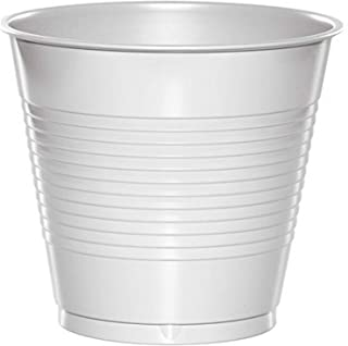 Creative Converting Touch of Color Premium Plastic Cups Party Supplies, 16oz, White