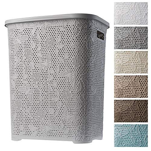 KADAX Wäschekorb, Wäschetruhe mit Deckel aus Kunststoff, Wäschesammler, Wäschesortierer für Bad, Kleidung, Spielzeug, Verzierungen, durchbrochenes Muster, 55l, leicht (grau)