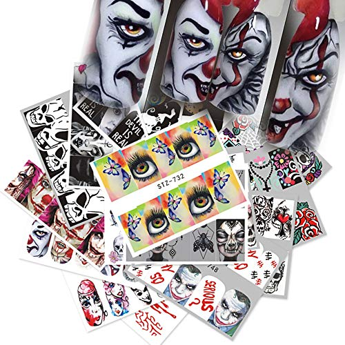 25 Sheets Halloween Nail Stickers - Water Transfer Nail Decals Grimace Skull Eye Spider Nail Art DIY Decals for Halloween Party