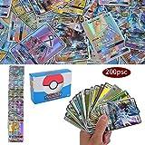 200 Piezas Pokemon Cartas, Cartas de Pokemon GX Trainer, Flash Cartas, Sun & Mood Series, Cartas Coleccionables (170GX +20Energy + 10Trainer)