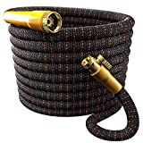 TBI Pro Garden Hose Expandable and Flexible - Super Durable 3750D Fabric   4-Layers Flex Strong Latex   No-Rust Brass Connectors with Pocket Protectors - Water Hoses for Gardening(50FT Hose Only) New