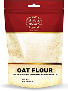 Spicy World Whole Grain Oat Flour 4 Pound Bag (64oz) - Non-GMO, Great Wheat Substitute