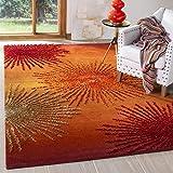 Safavieh Soho Collection SOH712R Handmade Fireworks Rust and Multicolored Premium Wool Area Rug (5' x 8')