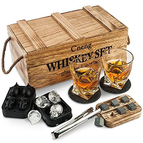 Whisky Steine Geschenkset mit Glas,Whisky Gläser Set ,Personalisiert Whiskey Geschenk für...