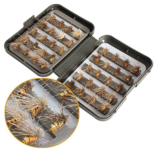40 pezzi/lotto trota ninfa pesca a mosca TOPIND esche da pesca pesca pesca a mosca 6 colori pesca a mosca con scatola esche artificiali (01-Flyfishinglures)