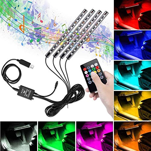 Striscia Led Auto, Winzwon Luci LED Interne per Auto con 48 LED DC 12 V Multi Color Music Car Ambiente Strip Light Kit Impermeabile con Telecomando Wireless