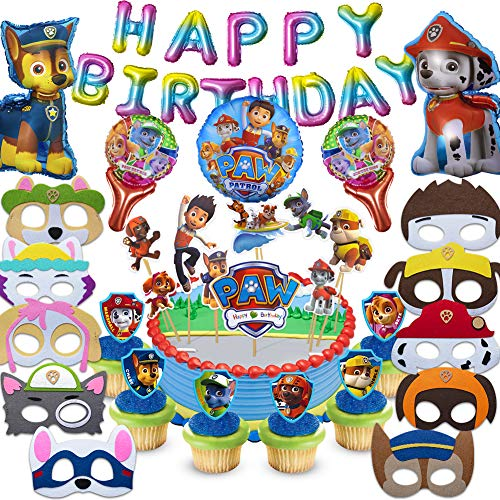 Fun Party Paw Dog Patrol Party Supplies for Kids, 37 Pcs Party Favors - Cake Topper, Cupcake Toppers, Felt Mask, Foil Balloon, Happy Birthday Banner