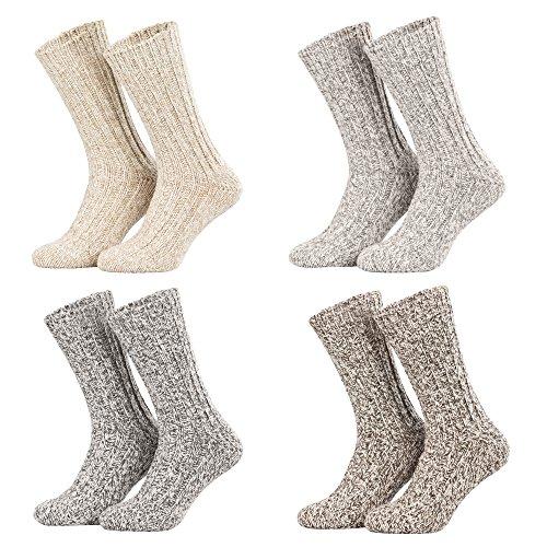 Piarini - 4 paia di calde calze norvegesi - grigio-panna-mlange - 39-42