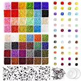 UOONY 35000pcs Glass Seed Beads and 250pcs Alphabet Letter Beads, 2mm Bracelet Beads for Jewelry...