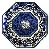Traditional Persian Oriental Octagon Area Rug Dark Blue Beige Black Americana Carpet King Design 101 (4 Feet X 4 Feet)