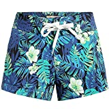 SSLR Women's Tropical Quick Dry Swim Trunks Hawaiian Board Shorts (Large, Black)