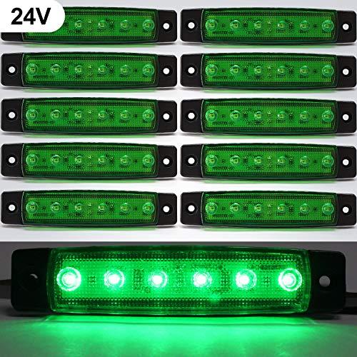 YuanGu Luci di posizione laterali a LED,24V Verde impermeabile luci laterali a LED per camion...