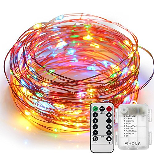 YIHONG Fairy Lights 8 Modes String Lights Battery Operated 39FT 120 LED Fairy String Lights Remote Control Firefly Lights for Wedding Halloween Thanksgiving Christmas Party Decor (Multicolor)