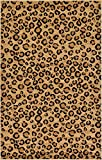 Unique Loom Wildlife Collection Leopard Animal Print Light Brown Area Rug (5' 0 x 8' 0)