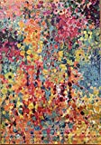Modern Colorful Contemporary Area Rug Turquoise Orange Yellow Blue Pink Design 1029 (5 Feet X 7 Feet)