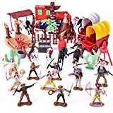 FUN LITTLE TOYS Wild West Cowboys Indians Toy Plastic Figures, Toy Soldiers Native American Action Figurines, Boy's War Game Educational Toys - 60 PCs