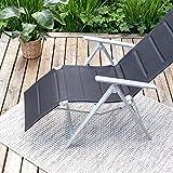 Vanage gepolsterter Gartenstuhl mit Fußableger in schwarz – Klappstuhl für Garten, Terrasse und Balkon geeignet - 5
