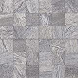 Gayafores 2011283 Sahara Glazed Porcelain Floor and Wall Mosaic, 12 in. x 12 in, Grey, 6 Piece