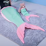 Merging 2 pcs Little Mermaid Tail Blanket Teen&Kids Sleeping Bag for Child and Little Baby with Carry Bag and Mermaid Doll(Mermaid) (Toy)