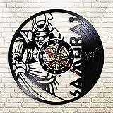 3D vinyle horloge murale vintage féroce japonais samouraï horloge murale...