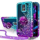 Silverback Galaxy S5 Case, Moving Liquid Holographic Sparkle Glitter Case with Kickstand, Bling Diamond Rhinestone Bumper W/Ring Slim Protective Samsung Galaxy S5 Case for Girls Women -Purple