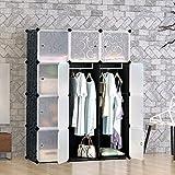 Tespo portable clothes wardrobe closet storage organizer with doors 12cubes,black,white
