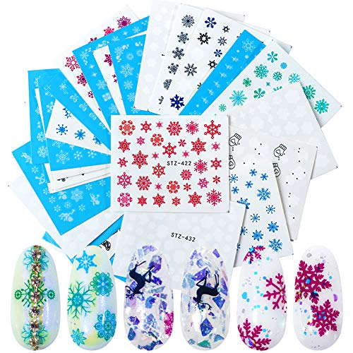 Christmas Nail Art Stickers Winter Snowflakes Nail Decals Xmas Nail Sticker Snowflakes Nail Art Decoration Water Transfer Nail stickers for Women kids Girls DIY Christmas Nail Decorations (30 Sheets)