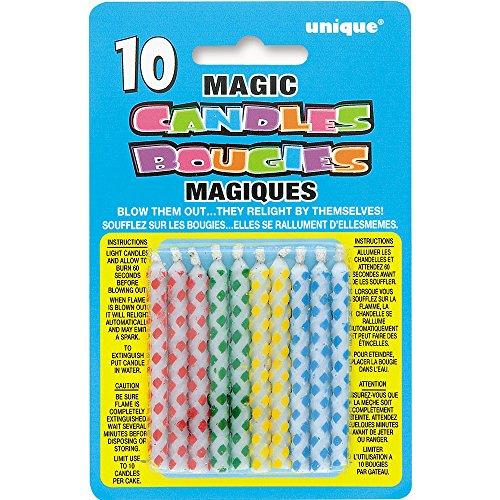 Unique Party Paquete de 10 Velas de cumpleaños mágicas, di