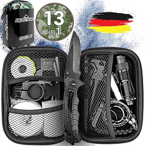 Jungle Monkey® Premium Survival Kit [13er Set] - [NEU 2020] - Mit hochwertigem Messer - Taschenlampe mit Fokus Funktion - Wanderzubehör mit Verbandszeug - Optimal für Wandern und Camping