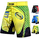 FARABI F2W MMA Shorts Kick Boxing Muay Thai Training Match Fight Short (Yellow Green, X-Large)